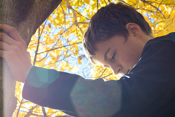 Young boy leaning against tree