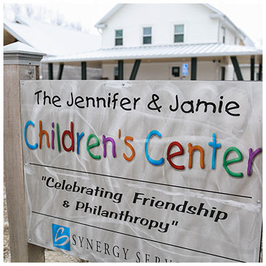 Sign in front of Children's Center emergency shelter
